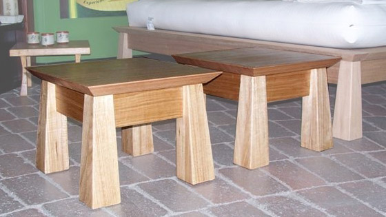 Custom design angled legs and top side table in Tasmanian Oak